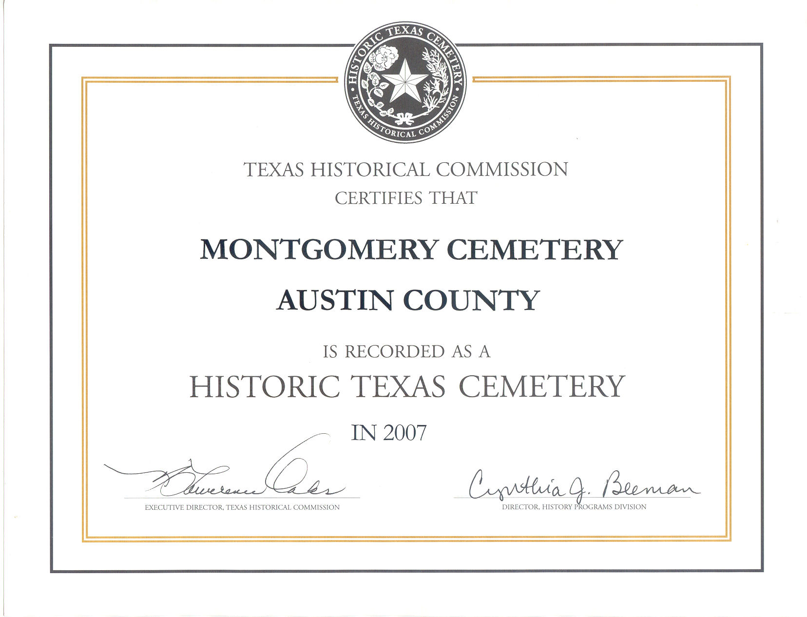 cemetery montgomery certificate bush